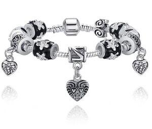 European S925 Glass Beads Heart Charm Bracelet Fit Women Bangle Jewelry Gift Box