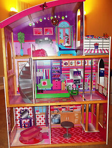 Barbie Doll House-KidKraft-3 Floors, Patio, Spiral Staircase, Elevator-Furnished