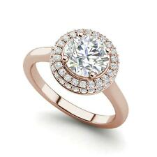 Cut Diamond Engagement Ring Rose Gold Halo Pave 2 Carat Vs1/F Round