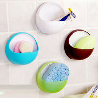 Plastic Suction Cup Soap Bathroom Shower Toothbrush Box Dish Holder Accessories