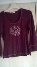 Laura Ashley Plum Embroidered Top size 8