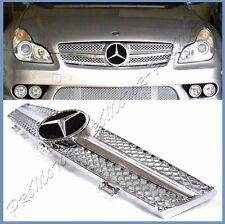 Fit 04-08 BENZ W219 CLS350 CLS500 CLS550 4DR Silver Chrome SL Type Front Grille