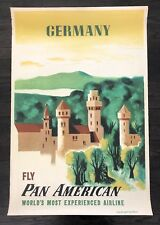 Original Vintage Poster PAN AM - GERMANY German Airline Travel - KAUFFER