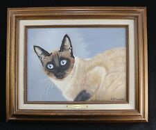 """Framed Signed SIAMESE CAT Formal Painting Portrait -14"""" x 17"""" -Kitschy"""