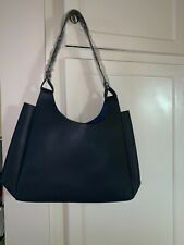 NEW Neiman Marcus Fall 2019 Large Navy Blue Faux Leather Tote Shoulder Bag