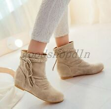 Ladies Round Toe Slouch Flats Casual Shoes Tassel Pull ON ANKLE BOOTS SIZE UK1-8