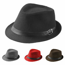 Kid Boy Girl Cotton Fedora Trilby Hat Gangster Cap Jazz Leather Band Winter New
