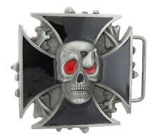 Black Cross Skull Head Bones Enamel Metal Belt Buckle