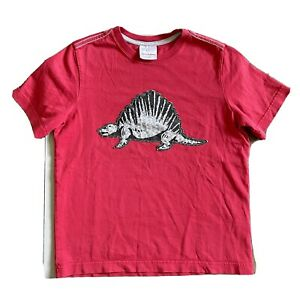 Hanna Andersson Boys Size 12 T-Shirt 150 Youth Red Dinosaur Shirt Top Cotton