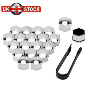 17mm Silver ALLOY CAR WHEEL NUT BOLT COVERS CAPS UNIVERSAL FOR ANY CAR SET OF 20