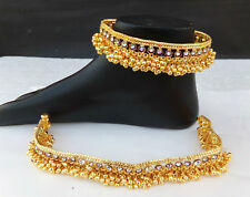 Ethnic Indian Dulhan Jewelry Cz Anklet Set Gold Plated wedding 22k Chain Payal