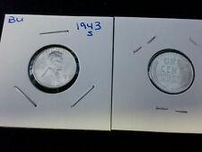 1943 S Bu Lincoln Centimes Acier Centimes de Guerre Mondiale 2 en USA