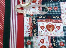 Christmas Fabric Fat quarter bundle 100% cotton + 2m ribbon Scandi Reindeers