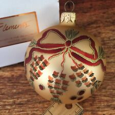"Acorns, Pine and Ribbon Glass Ball Christmas Holiday Ornament 3"" by Elements"