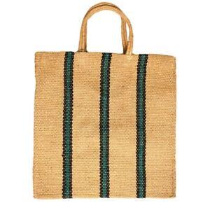 Jute Green & Black Stripe Turtle Bag Fairtrade Hessian Grain Sack Style Tote Bag