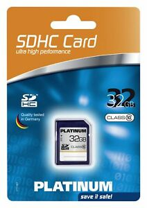 Platinum 32 GB Class 10 SDHC Speicherkarte Typ 177118 mit Schreibschutz-Schalter