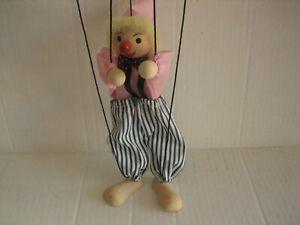 "Clown Marionette Puppet Wood w/ Hand Controller 14"""