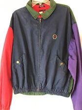 VINTAGE 90s Tommy Hilfiger Colorful Windbreaker Jacket Coat XL Hip Hop