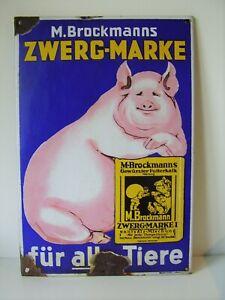 Antikes Originales Emaile Schild Zwerg - Marke M.Brockmann's