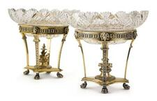 A PAIR OF VICTORIAN SILVER-GILT AND CUT-GLASS DESSERT STANDS, GEORGE FOX, LON...