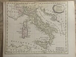 1806 ITALY HAND COLOURED ORIGINAL ANTIQUE MAP 214 YEARS OLD