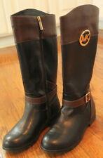 Girls New Youth Michael Kors Sz 4 Full Zipper Black Brown Boots