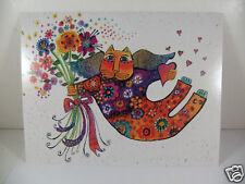 Laurel Burch Greeting Card Friendship Glossy Deluxe Card Cat With Flowers New