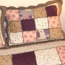 Bedspread Set, Patchwork Cotton Quilted Bedspread in Purple, 3PC Set Queen Size