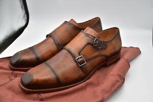 Mezlan Valkyrie Double Monk  Brown Spain Leather Shoes MEN'S SZ 11 M