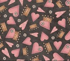 SANTORO - All for love Hearts and crowns on black Cotton print Fat Quarter