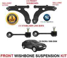 FOR VW BORA 1998-06 FRONT 2 WISHBONE ARMS 2 STABILISER LINK BARS SUSPENSION KIT