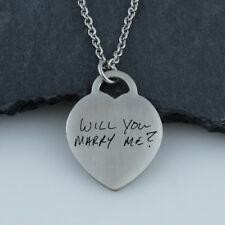 Personalized Handwriting Heart Necklace -Stainless Steel- Engraved Custom
