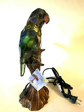 Accent Table Lamp Stained Glass Tiffany Style Lighting Light Bird multicolor