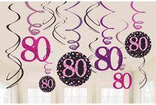 12 x 80th anniversaire suspendu tourbillons noir & rose décorations de fête 80 ans fête