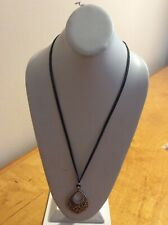$29Lucky Brand openwork leather pendant necklace  #226
