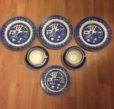 Job Lot Blue & White China Willow Pattern Vintage Dinner Side Plates Cup Saucer
