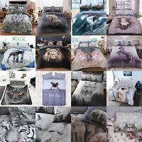 Elephant Cat Unicorn Duvet Cover Set with Pillow Cases Polycotton Bedding Sets
