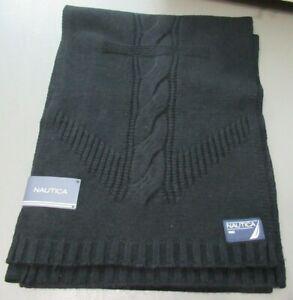 Nautica Men's Nylon/Wool Anchor Scarf, Black, One Size