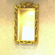 New Big Size Wooden Hand Carved Design Wall Mirror Frame In Golden Foil Finish