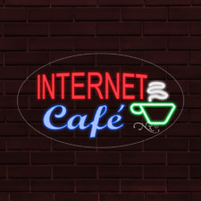 "Brand New ""Internet Cafe"" w/Logo Oval 30x17x1 Inch Led Flex Indoor Sign 34110"