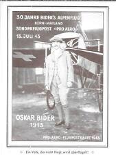 SWITZERLAND- 1943-50th Anniversary picture/cancelled OskarBiedar card
