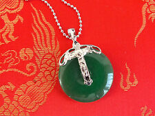 CHINESE GREEN JADE CROSS PENDANT NECKLACE BIRTHDAY WEDDING PARTY GIFT POUCH J14