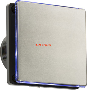 """Modern LED Back Lit 100mm 4"""" Wall 240V Overrun Timer Air Toilet Extractor Fan SS"""