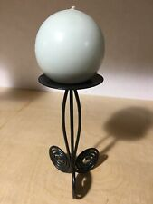 Black iron scrollwork pillar candle holder stand with round candle Home Decor
