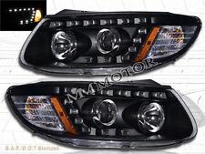 FOR 2007-12 SANTA FE SE GLS R8 STYLE  LED STRIP PROJECTOR HEADLIGHTS BLACK