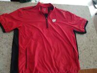 Men's Wisconsin Badger 1/4 Zip Adidas Golf Pullover Short sleeve Sz 2XL
