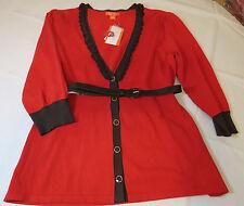Ella Rose 3/4 sleeve womens sweater w/ belt shirt top Flame 679 M Silk Blend NWT
