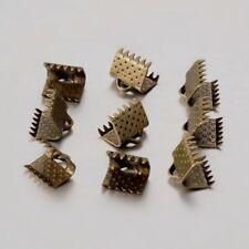 LOT de 25 EMBOUTS PINCES ATTACHE RUBAN à griffes gros grain 10 x 7mm BRONZE