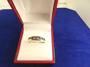 Ladies 9ct Gold DIAMOND RUBY Eternity Ring Sz R Hm 40TH Anniversary Gift 25z