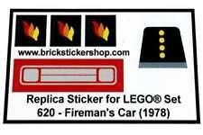 Precut Custom Replacement Stickers voor Lego 620 - Fireman's Car (1978)